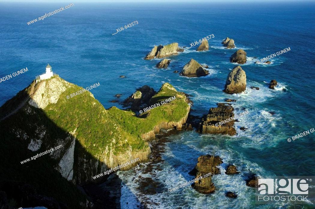 Stock Photo: Nugget Point Lighthouse Otago, New Zealand.