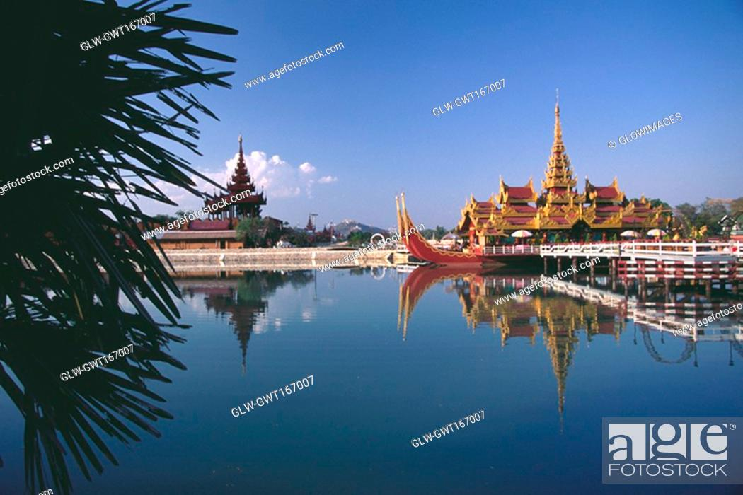 Stock Photo: Palace on a barge in a moat, Yangon, Myanmar.