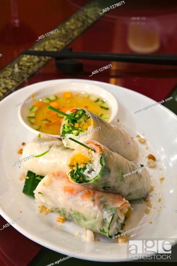 Stock Photo: Fresh spring rolls with prawn and mango Wild Lotus style  Wild Lotus Restaurant  Hanoi  Vietnam.