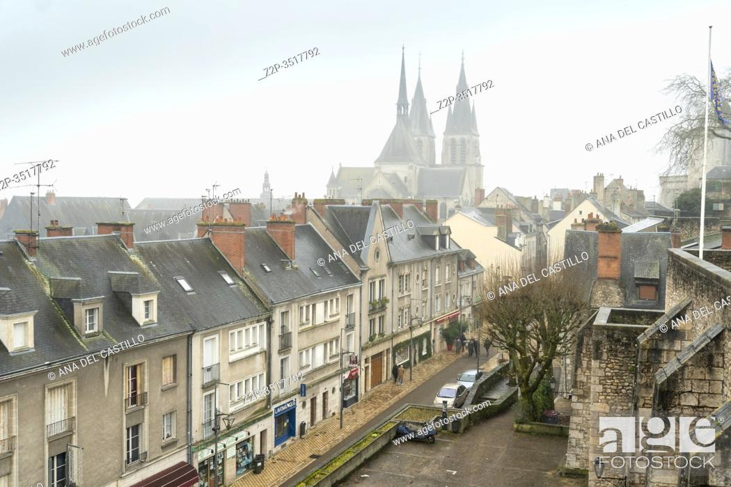 Stock Photo: Blois France on December 2019: Old medieval houses with St Nicholas church from castle viewpoint in Loire Valley.