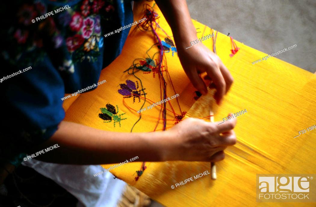 Stock Photo: Woman weaving. San Antonio Aguas Calientes. Antigua Guatemala.
