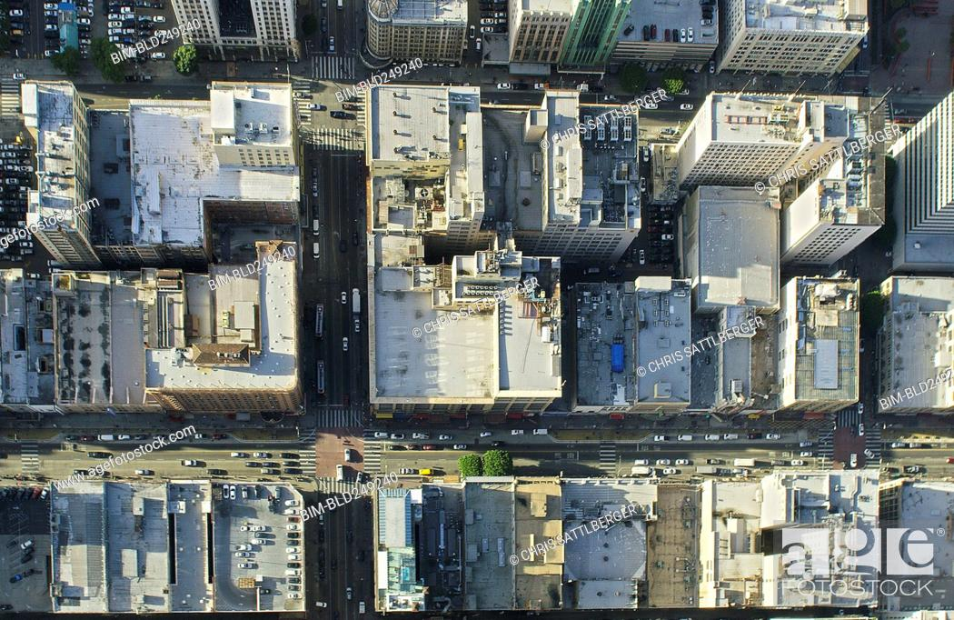 Stock Photo: Aerial view of city, Los Angeles, California, United States.