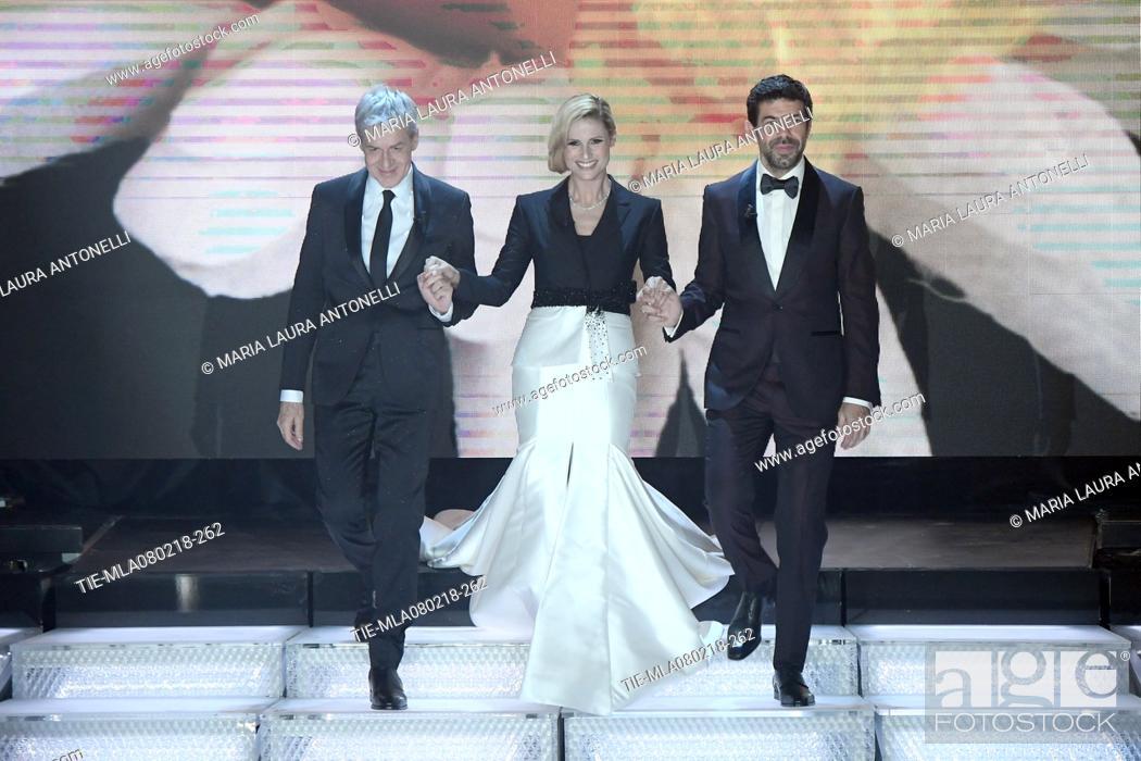 Imagen: Claudio Baglioni, Michelle Hunziker, Pierfrancesco Favino during 68th Festival of the Italian Song, Sanremo, Italy 08/02/2018.