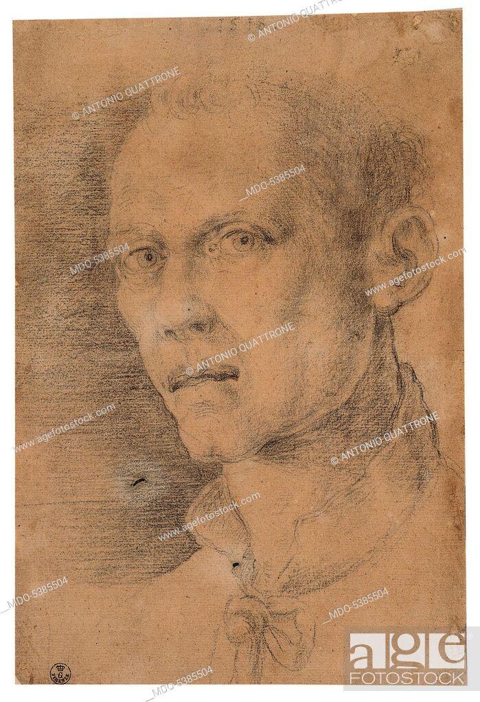 Stock Photo: Male Portrait, by Albrecht Durer, 1518, 16th Century, black pencil on white paper.