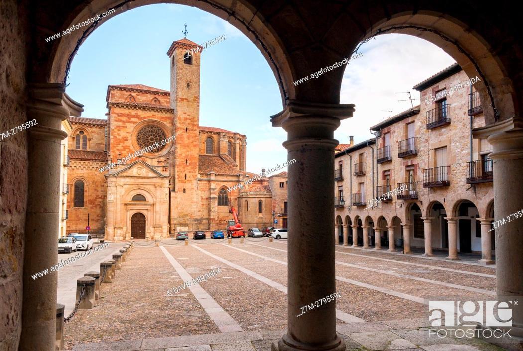 Stock Photo: Santa María la Mayor Cathedral viewed from Town Hall, Sigüenza, Guadalajara province, Castile La Mancha, Spain. Historical Heritage Site.