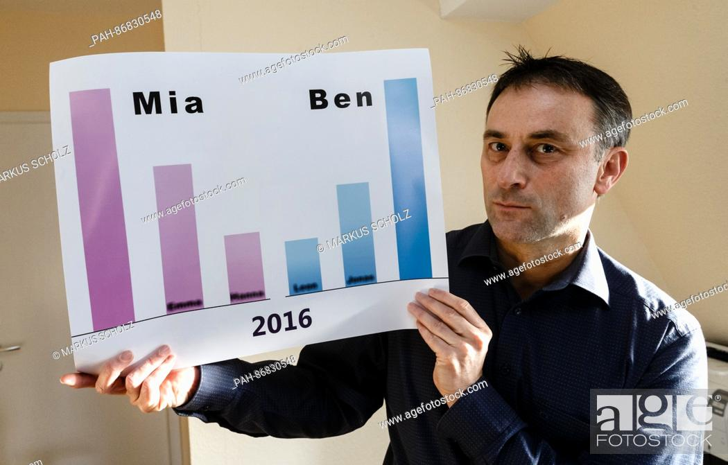 Stock Photo: Hobby name researcher Knud Bielefeld with a graph showing the year's most popular names for boys and girls in Ahresnburg, Germany, 28 December 2016.
