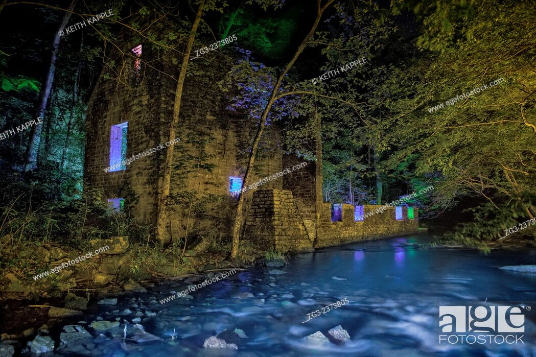 Stock Photo: Light Painting and Night photography of John Blanchard's Mill ruins in Blanchard Springs Arkansas.