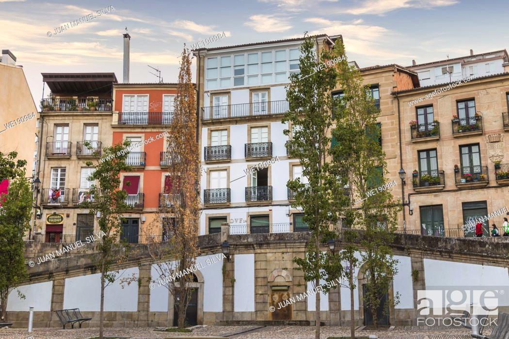Stock Photo: Residentail buildings at dawn, Ourense, Galicia, Spain.