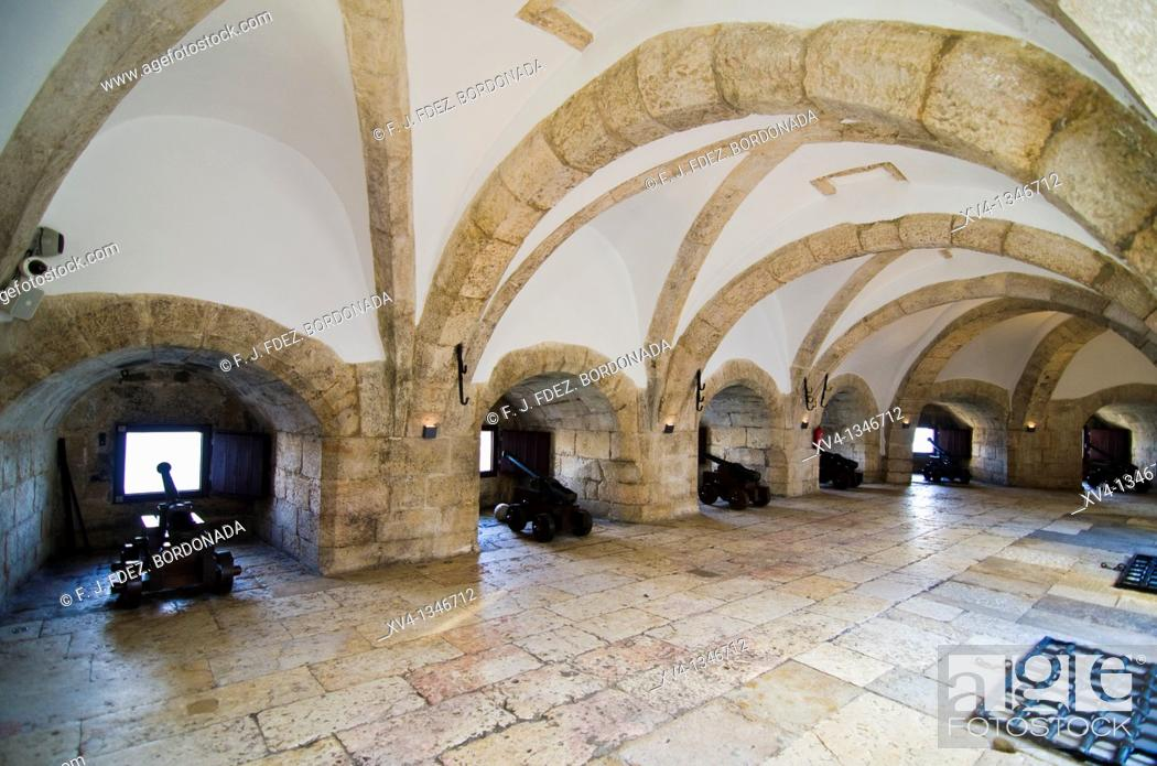 Stock Photo: Torre de Belem  Rennaissance style archways  Built in the 16th century in order to defend the Tagus river mouth  Belem, Lisbon, Portugal.