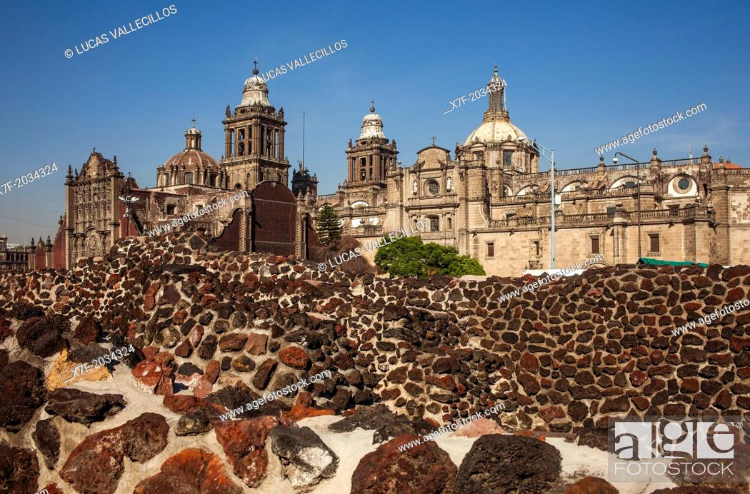 Stock Photo: The Aztecs Ruins of Templo Mayor, Archaeological Site, in backgroubd The Metropolitan Cathedral, historic center, Mexico City, Mexico.
