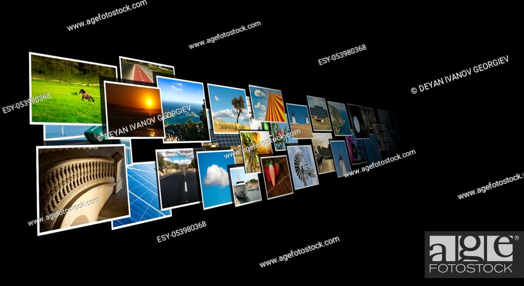Stock Photo: Perspective of images streaming from the deep on black background.