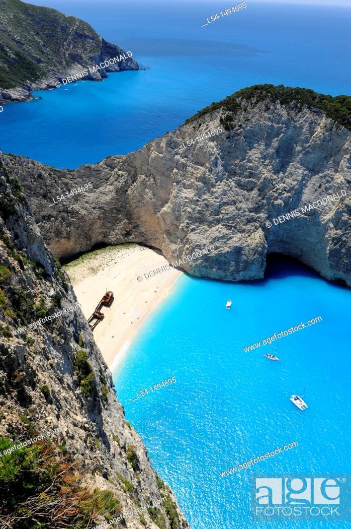 Stock Photo: Shipwreck Navagio Beach Zakynthos Greece Ionian Sea Mediterranean Island.