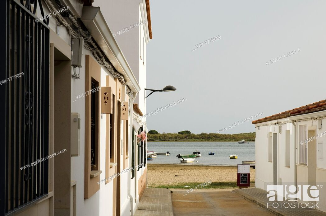 Stock Photo: Spain, Huelva, El Rompido is a coastal borough in the municipality of Cartaya which is situated in the province of Huelva  El Rompido was founded sometime in.