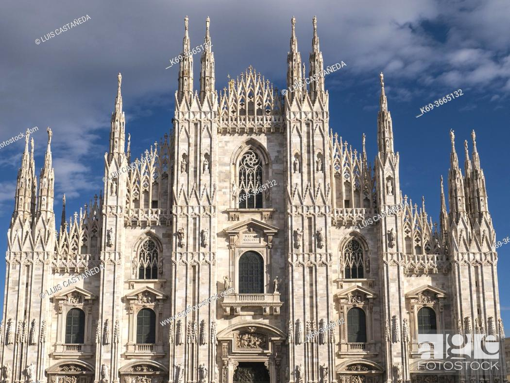 Stock Photo: The Duomo. Milan. Italy. . Milan Cathedral is the cathedral church of Milan, Italy. Dedicated to Santa Maria Nascente, it is the seat of the Archbishop of Milan.