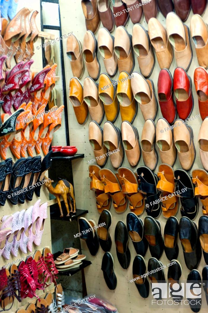 Stock Photo: Tunisia - Jerba - Hount-Souk - Turkish slippers in the souks.