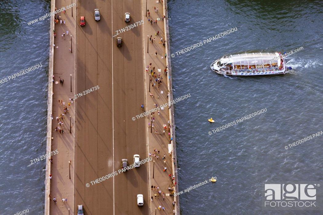 Stock Photo: Top view of a bridge at Seine river from Eiffel tower. Paris, France.
