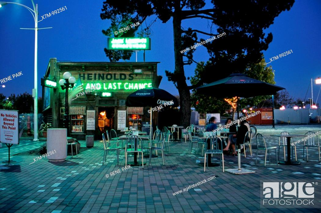 Stock Photo: Heinolds' at twilight in 2006 before the start of large construction behind it  Heinolds' First and Last Chance Bar, also known as Jack London's Rendezvous in.