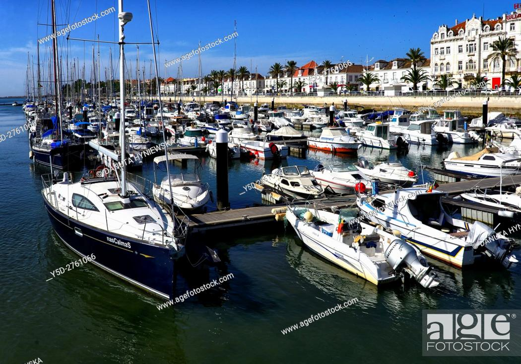Stock Photo: Guadiana river is natural Spanish-Portuguese border, in its mouth river passes two border cities - Ayamonte on Spanish side and Vila Real de Santo António on.