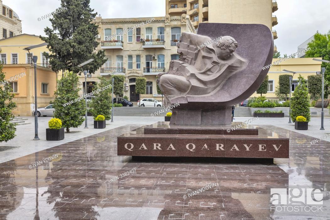 Stock Photo: Monument to Gara Garayev (1918-1982), Soviet Azerbaijani composer, Baku, Azerbaijan.