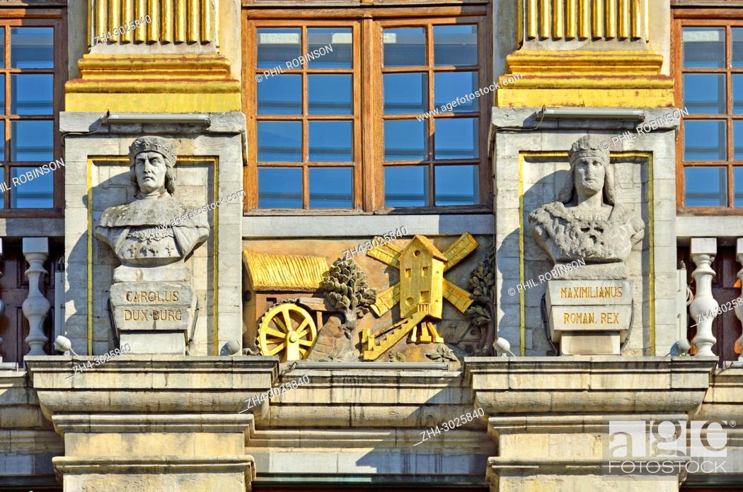 Stock Photo: Brussels, Belgium. Grand Place. La Maison des Ducs de Brabant (1696-98) Facade detail.