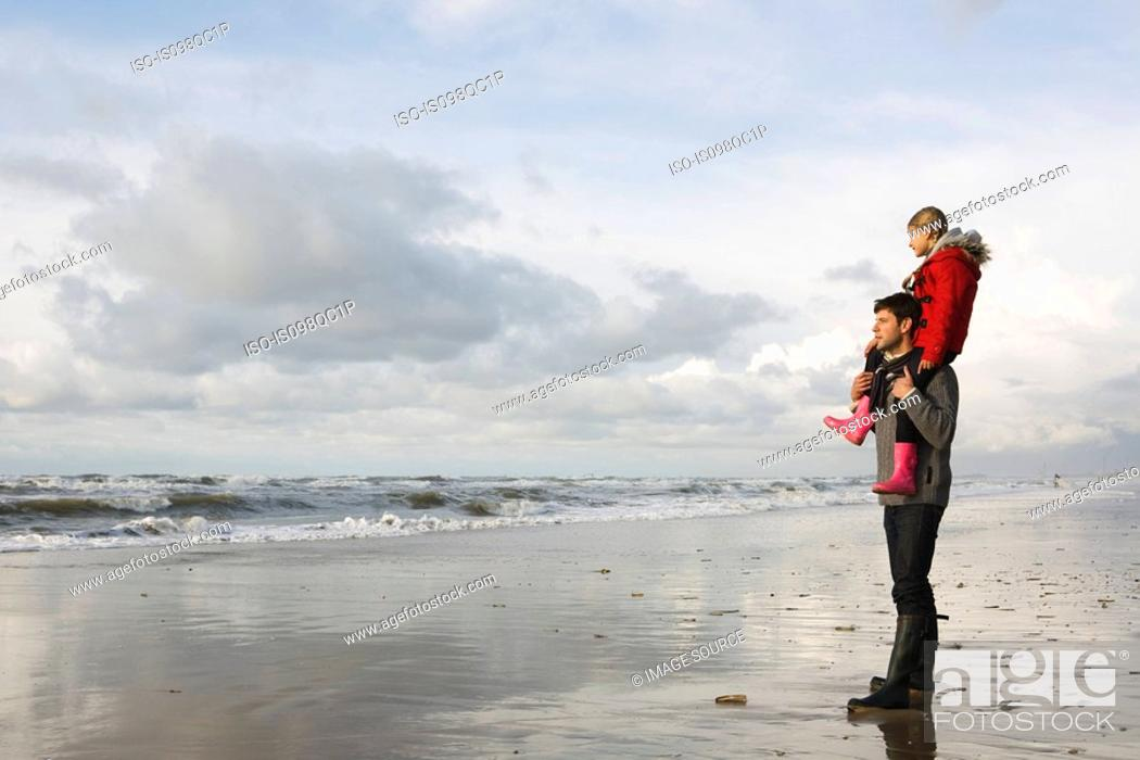 Stock Photo: Father and daughter by the sea.