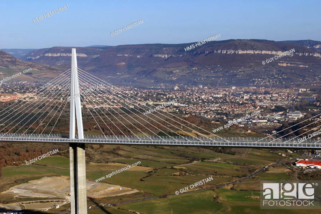 France Aveyron 12 Millau The A75 Motorway Viaduct Between
