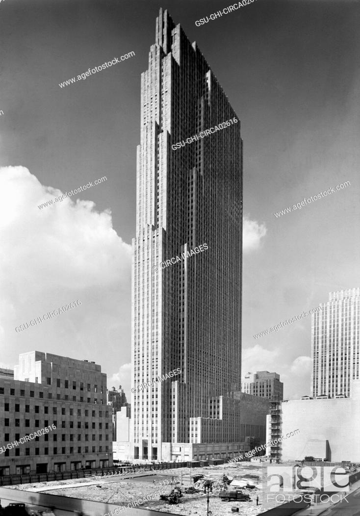Stock Photo: RCA Building, Rockefeller Center under Construction, New York City, New York, USA, Samuel H. Gottscho, September 1933.