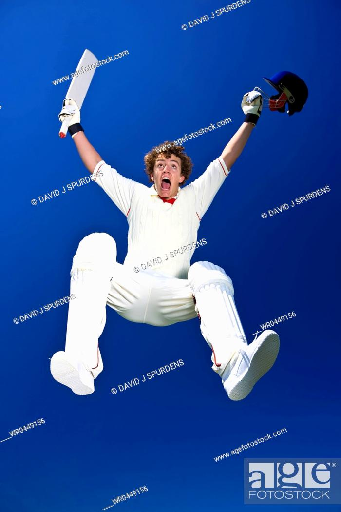 Stock Photo: A cricketer celebrates.