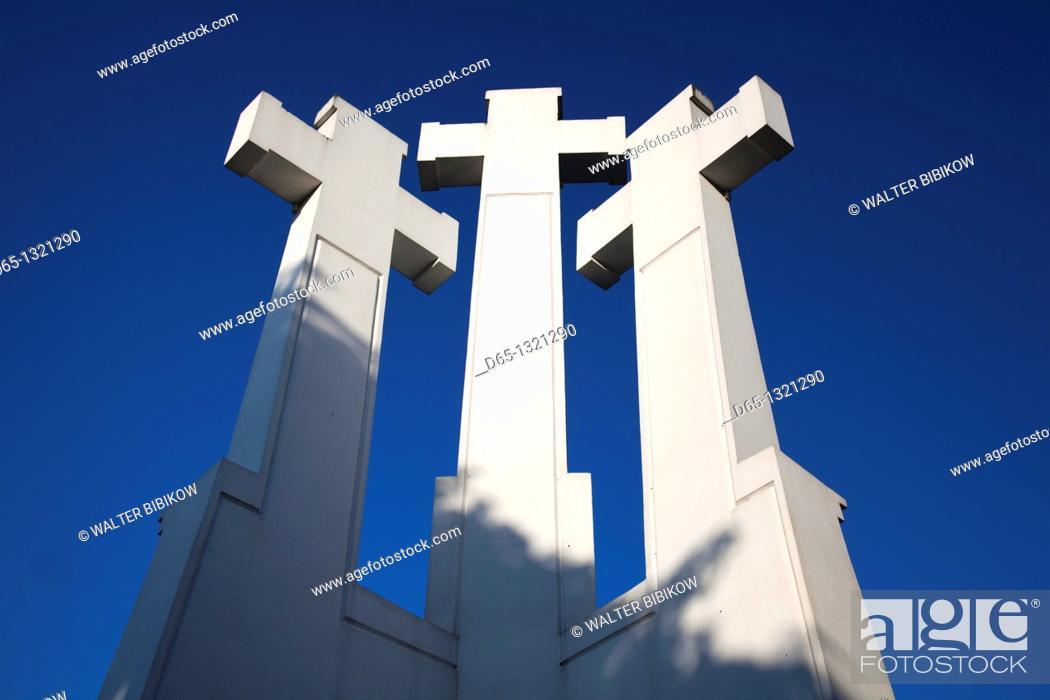 Stock Photo: Lithuania, Vilnius, Three Crosses Hill.