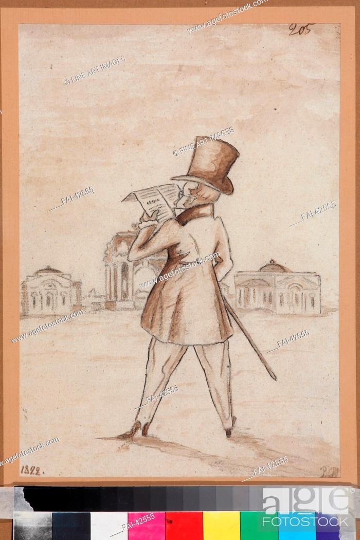 Stock Photo: Mikhail Zagoskin (1789-1852) by Anonymous /Pen, brush, Indian ink on paper/Caricature/1830s/Russia/I. Turgenev Memorial Museum, Moscow/28, 3x20.
