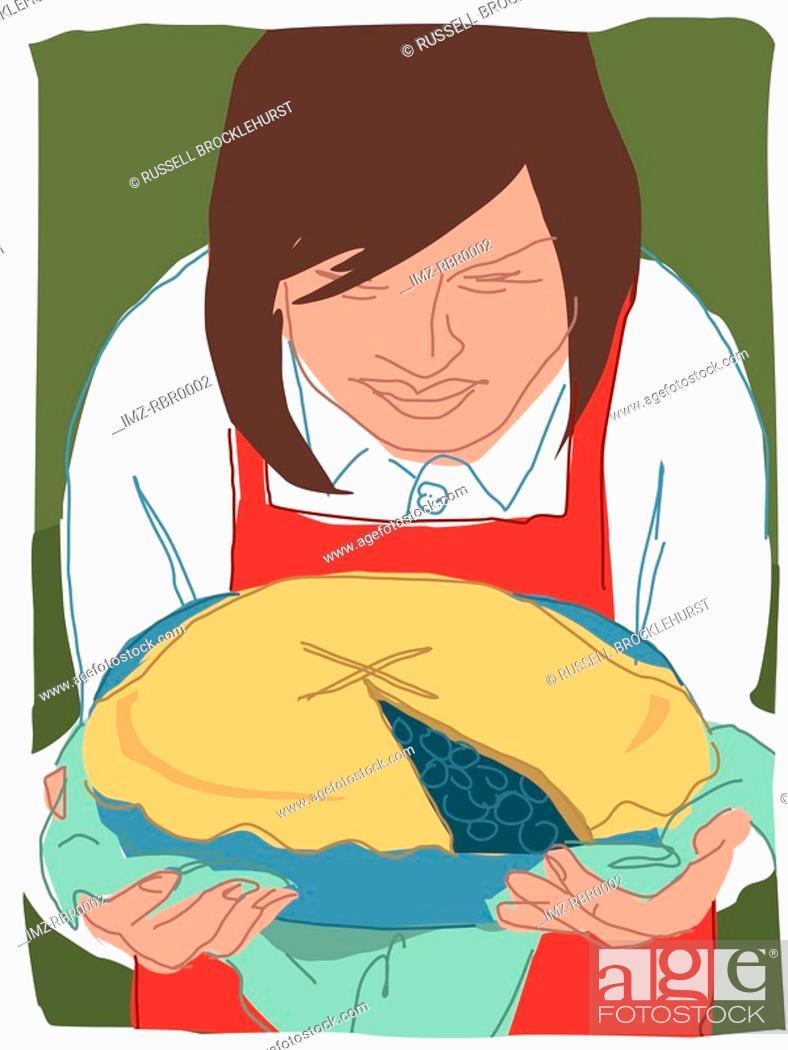 Stock Photo: woman serving pie.