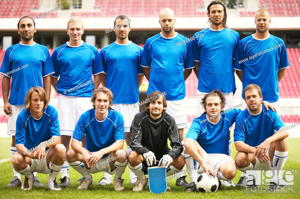 Stock Photo: Football team in blue.