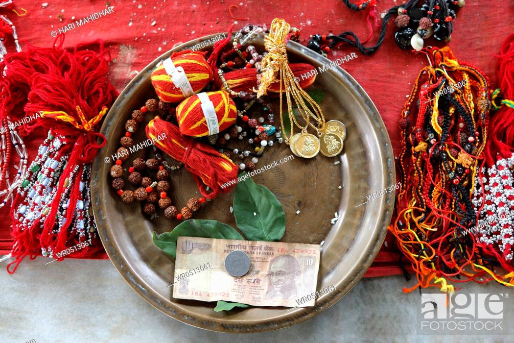 Puja thali offered by devotees at shiva dole temple