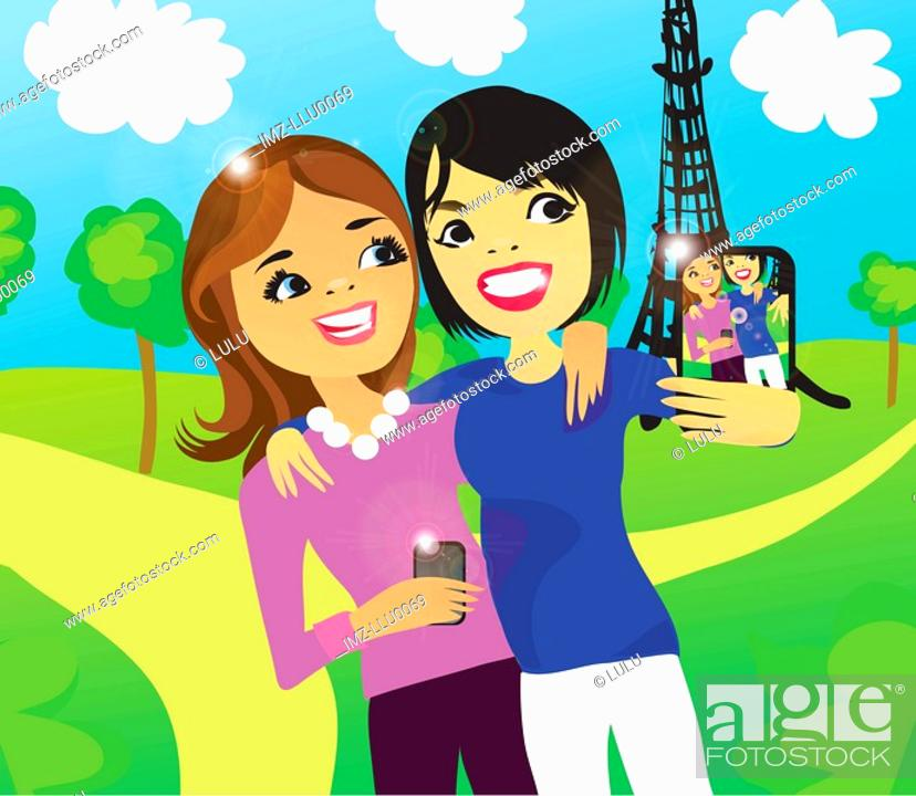 Stock Photo: Two women taking a photo of themselves in front of the Eiffel Tower with a digital phone.