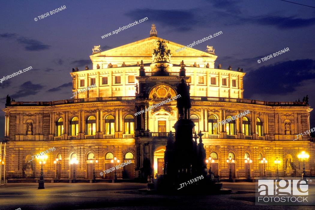 Stock Photo: Semper Opera, Dresden, Saxony, Germany.
