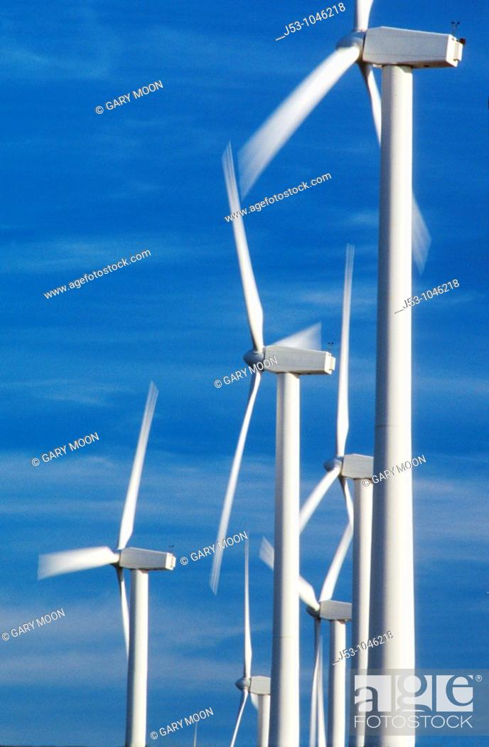 Stock Photo: Spinning wind turbines, Rio Vista, California.