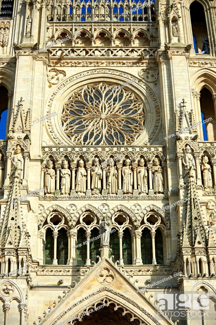 Stock Photo: Gothic statues and the facade of the Gothic Cathedral of Notre-Dame, Amiens, France.