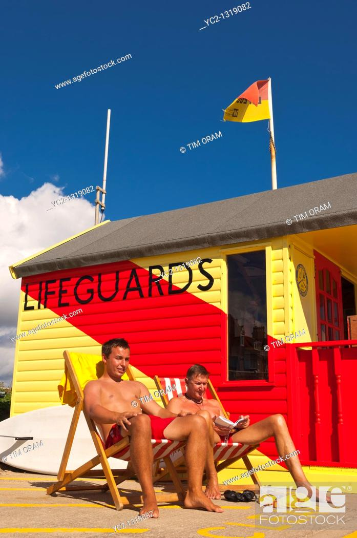 Stock Photo: The lifeguards on the seafront in Southwold , Suffolk , England , Britain , Uk.