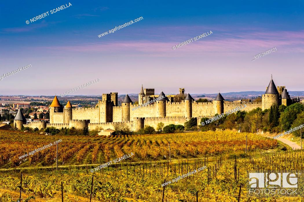 Stock Photo: Europe. France. Languedoc-Roussillon. Aude. Carcassonne. La Cite. The medieval fortified town.