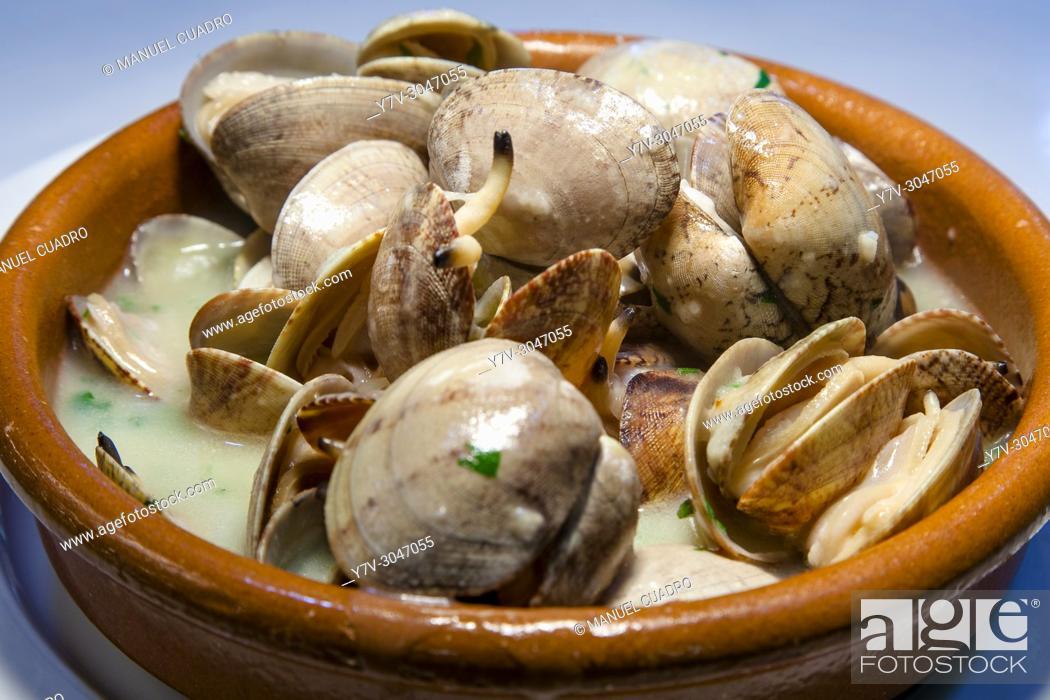 Stock Photo: Plato de Almejas en salsa verde a la cazuela / Clams in green sauce. Basque Country, Spain.