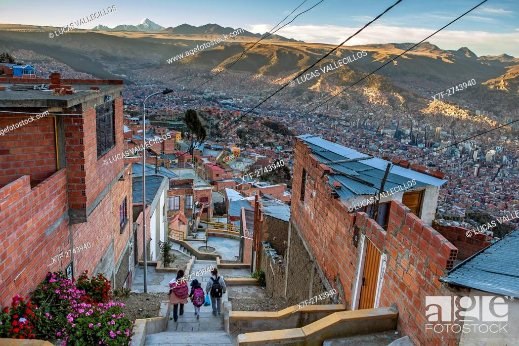 Stock Photo: El Alto, in background Panoramic view of La Paz and Los Andes mountains, La Paz, Bolivia.