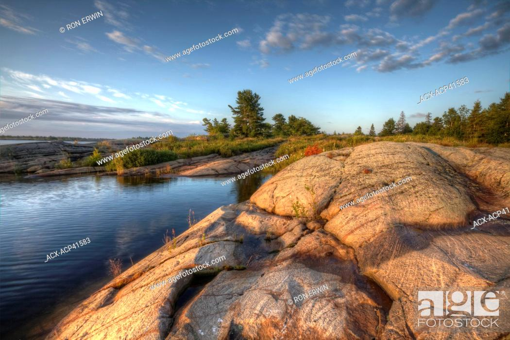 Stock Photo: HDR of Sabine Island at the mouth of the French River on the east side of Georgian Bay, French River Provincial Park, Ontario, Canada.