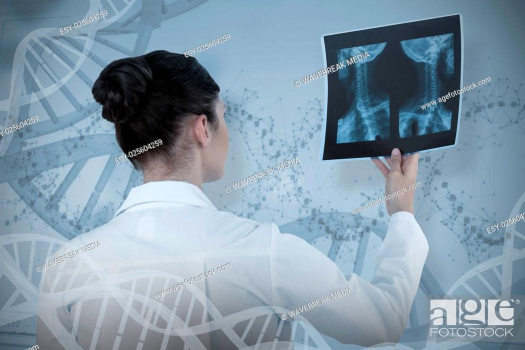Stock Photo: Composite image of female doctor checking x-ray report.
