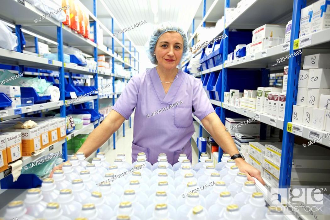 Stock Photo: Fungible medical material and medicines storage, surgical block. Hospital Policlinica Gipuzkoa, San Sebastian, Donostia, Euskadi, Spain.