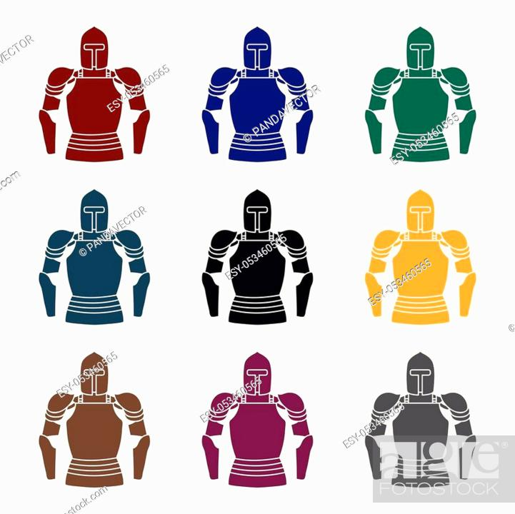 Plate armor icon in black style isolated on white background