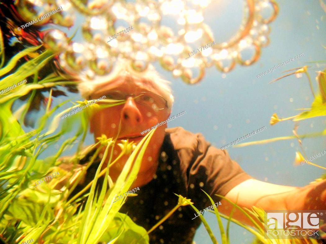 Stock Photo: A man watches a pond viewed from underwater.