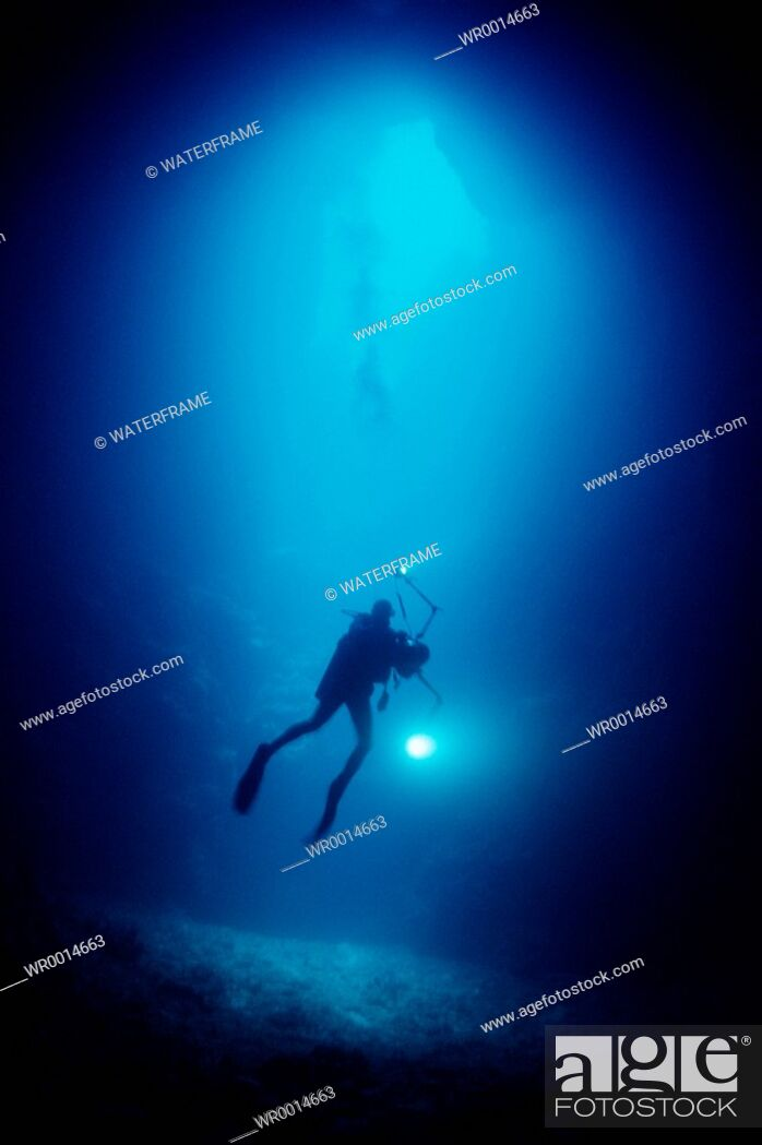 Stock Photo: Diver in Blue Hole Cave, Pacific, Micronesia, Palau.