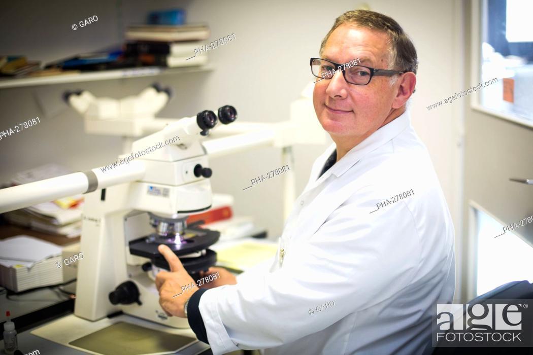Stock Photo: Professor Romain Gherardi, Inserm U955 research director, specialist of macrophagic myofasciitis, head of histology department, Henri Mondor hospital, AP-HP.