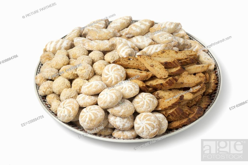 Stock Photo: Dish with Moroccan festive homemade cookies isolated on white background.