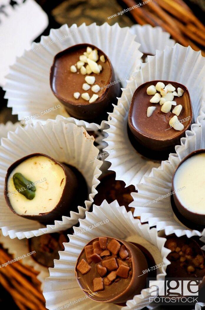 Stock Photo: Chocolates at La Boqueria market, Barcelona. Catalonia, Spain.